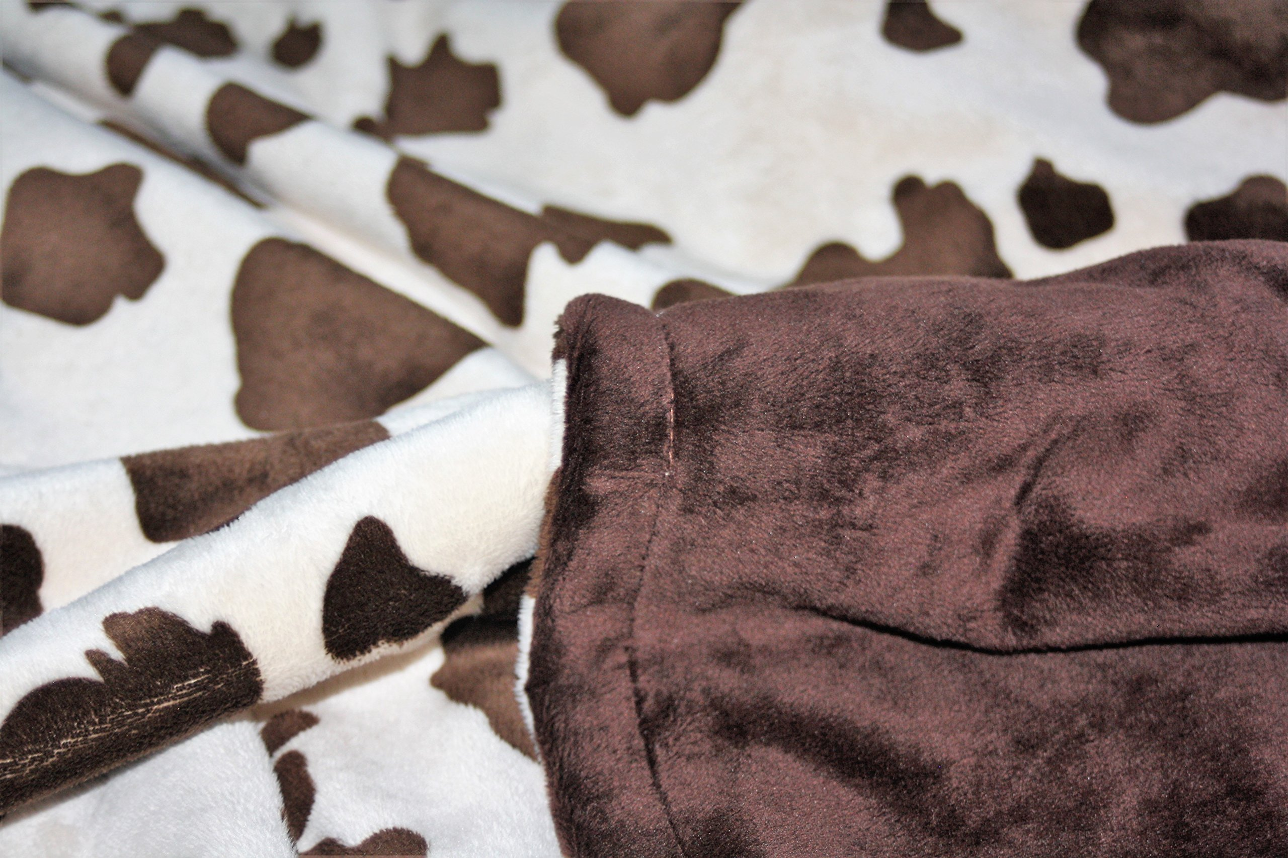 Minky Blanket - Baby Blanket, Toddler Blanket, Child Blanket - Cream and Brown Cow Blanket (Medium (@29''X30''), Brown) by Lil' Cub Hub