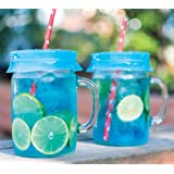 Blossom Mason and Canning Jar Sipping and Drinking Lid Caps, Silicone, For Wide Mouth Size Mason Jars, 4-Inches; Blue; Set of 4