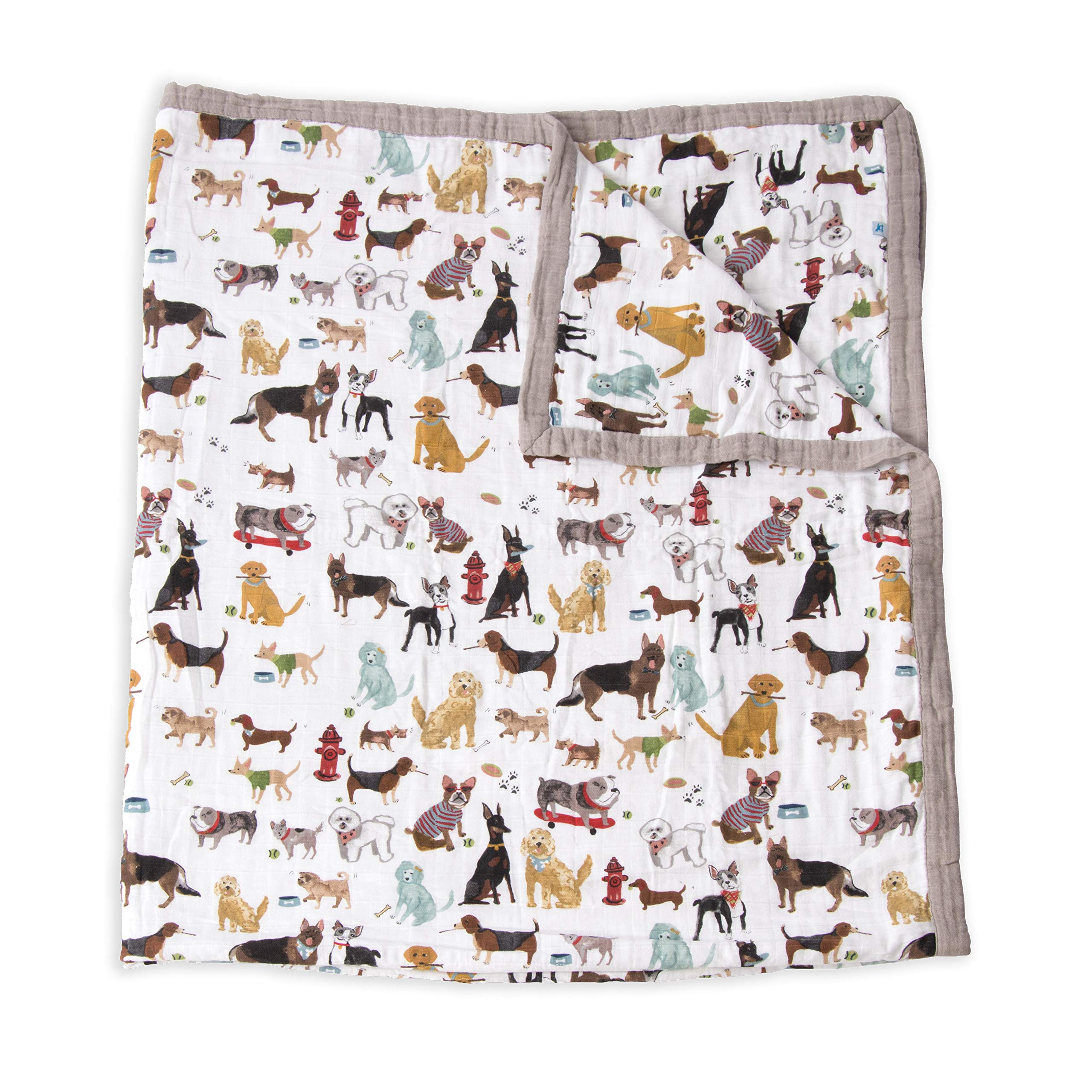 Little Unicorn Extra Soft Cotton Muslin Large Quilt Blanket - Woof by Little Unicorn