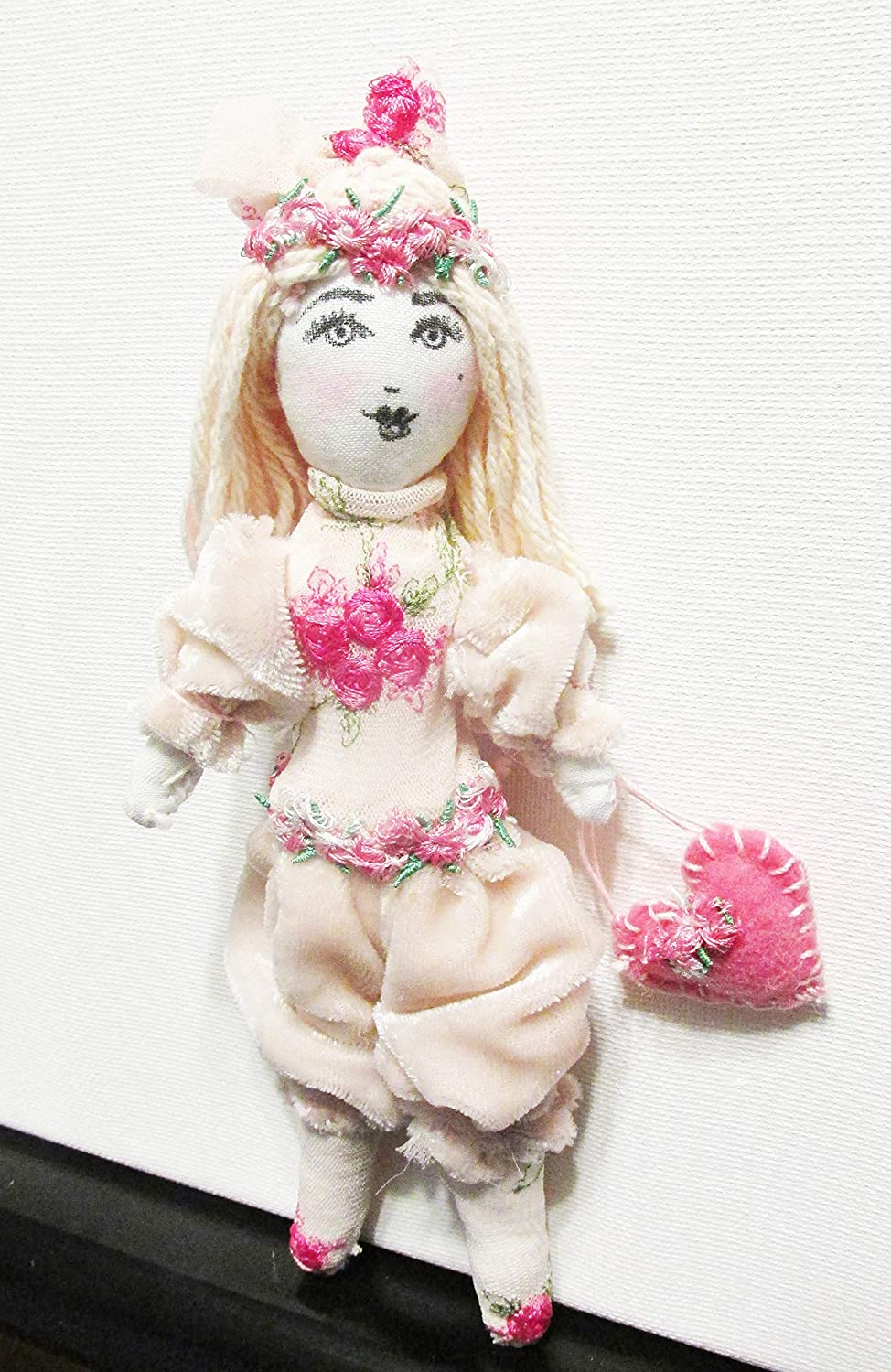 Shabby Chic Doll-Pink Hair-One of a Kind Handmade Doll