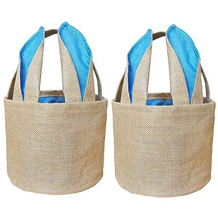 Yellow and Blue Easter Basket for Kids Bunny Bag for Easter Hunt-Storage Bin Basket-Kids Picnic Basket