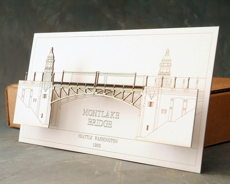 3D Laser Cut Card of the Montlake Bridge in Seattle Washington