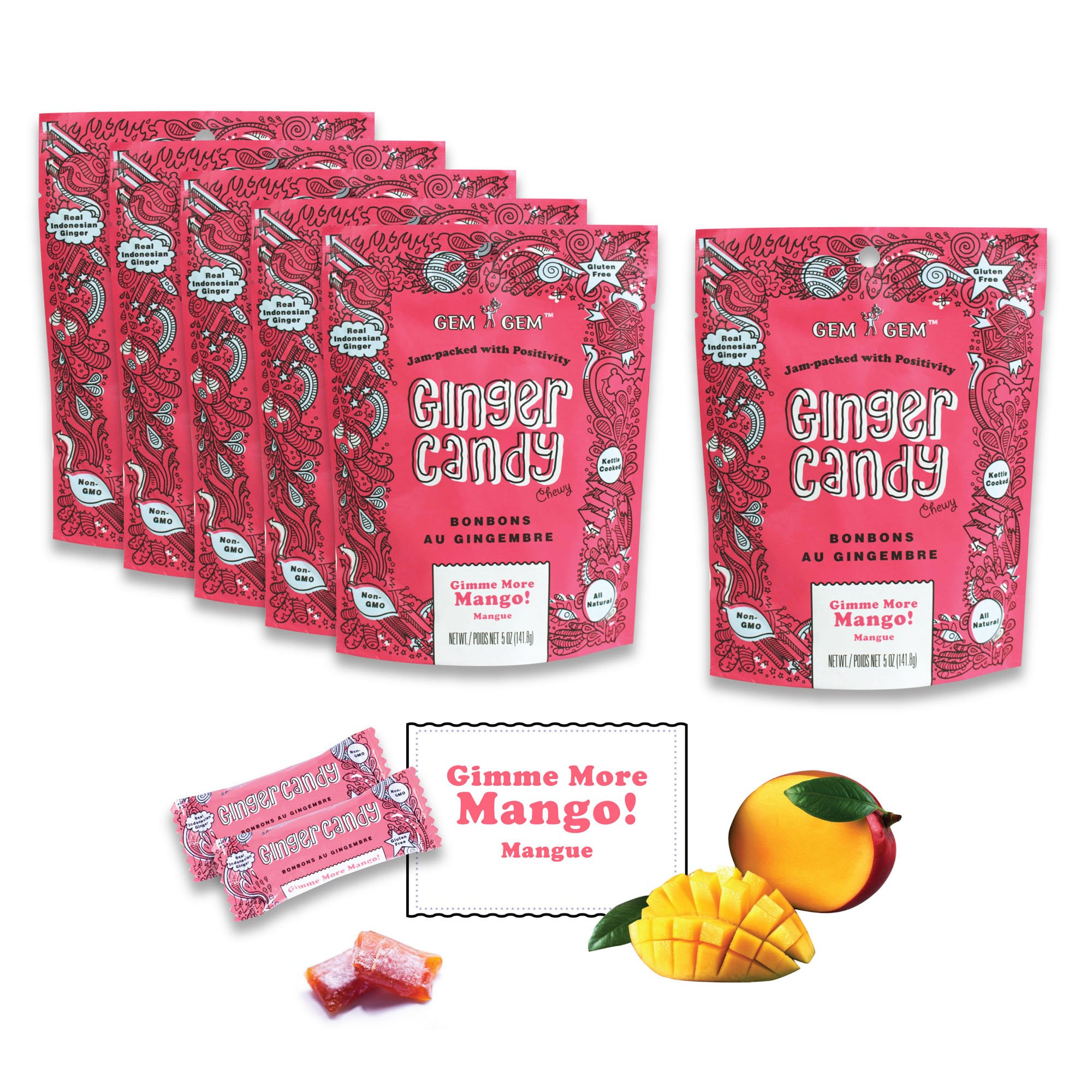 Gem Gem Ginger Candy Chewy Ginger Chews (Mango, 5.0oz, Pack of 6)