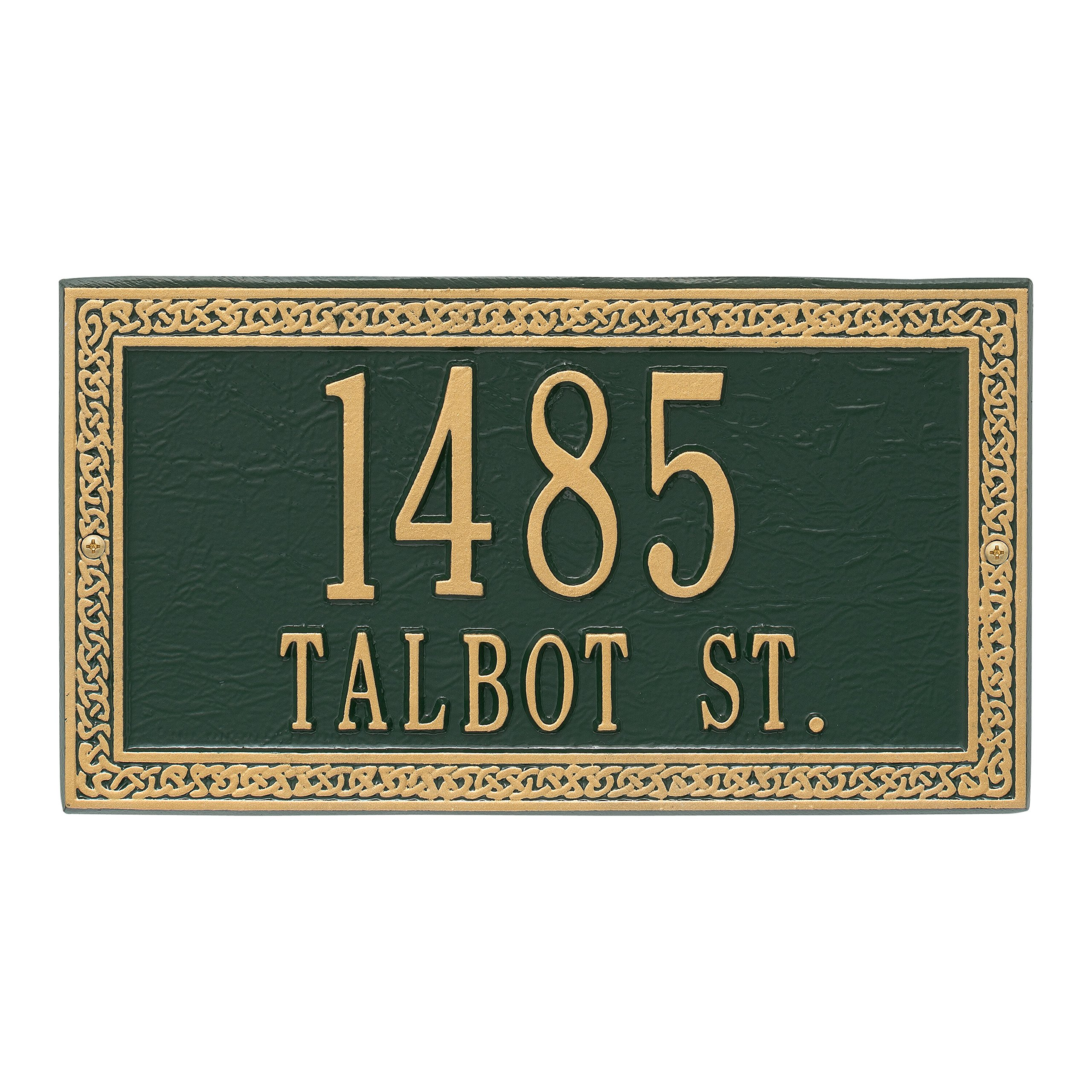 Whitehall Personalized Indoor/Outdoor Cast Irish Celtic Cornerstone Address Plaque Sign with House Number and Street Name (Green Gold)