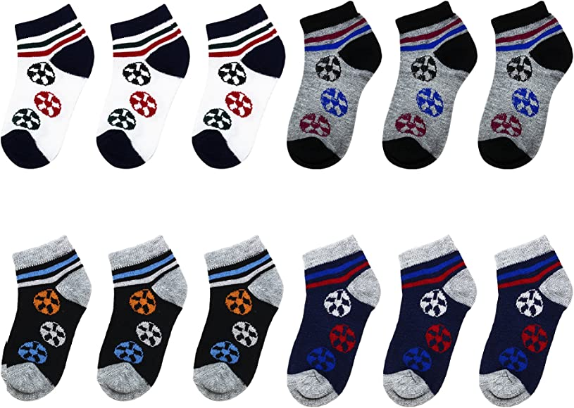 Falari 12 Pairs Boy Toddler Kids Cotton Socks