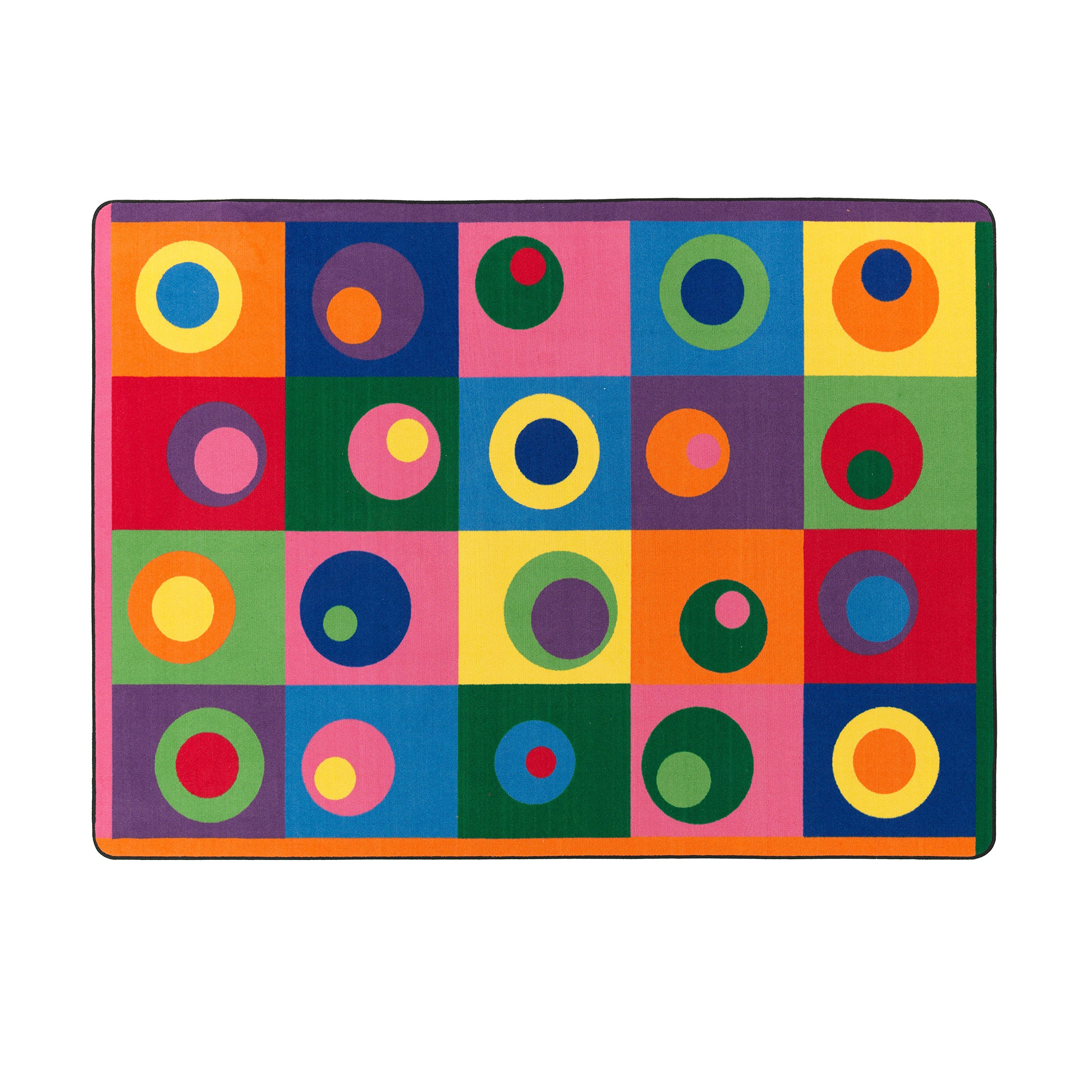 Flagship Carpets FE119-32A Multi Silly Circles Seating Carpet, Seats 20, A Bright Fun Design for Kids of All Ages, Children's Classroom Educational Carpet, Kids School, 5'10'' x 8'4''