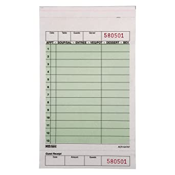 Green DayMark Carbon Guest Check Book Case of 40 Books, 50 Sheets Per Book 2 Part