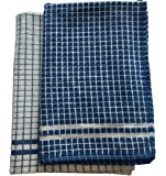 SHOP BY ROOM 100% Cotton Extra Large Multi-Purpose Hand Towel - Set of 2(Blue and White)- 18 x 28 Inch