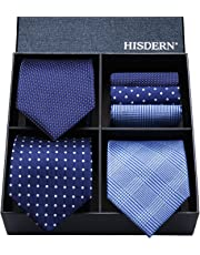HISDERN Lot 3 PCS Classic Men's Tie Set Necktie & Pocket Square Multiple Set Elegant Business Party Neck Ties Present Collection
