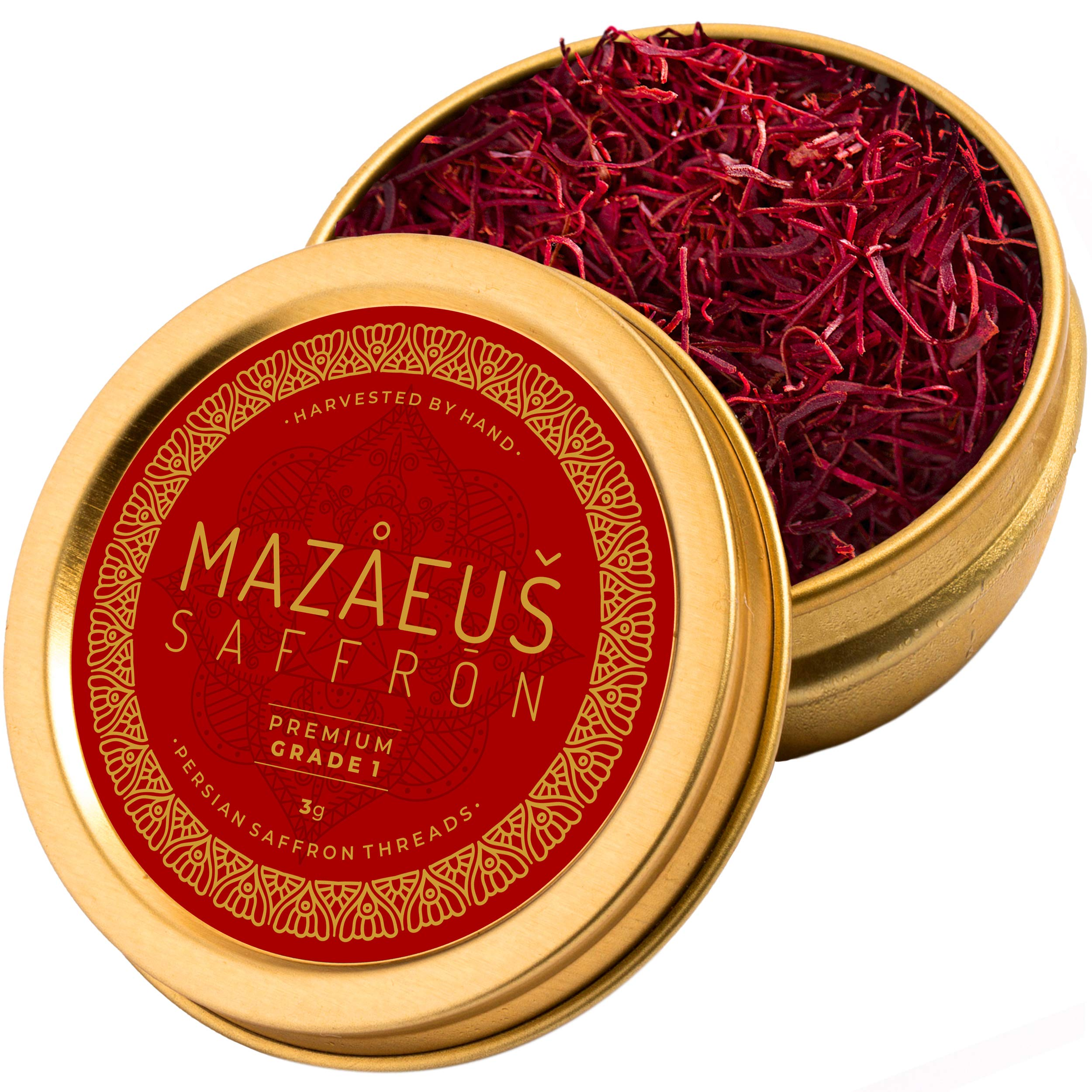 Mazaeus Saffron, Premium Saffron Threads (Grade 1), All-Red Saffron Spice, Highest Quality Persian Saffron for Culinary Use (3 grams)