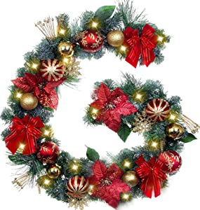 TFWell Christmas Garland with Lights, Pre-Lit 75 Inch Red Gold Christmas Garland, Decorative Garland with Artificial Spruce, Berries, Christmas Ball Ornaments and Bows, Battery Operated 20 LED Lights