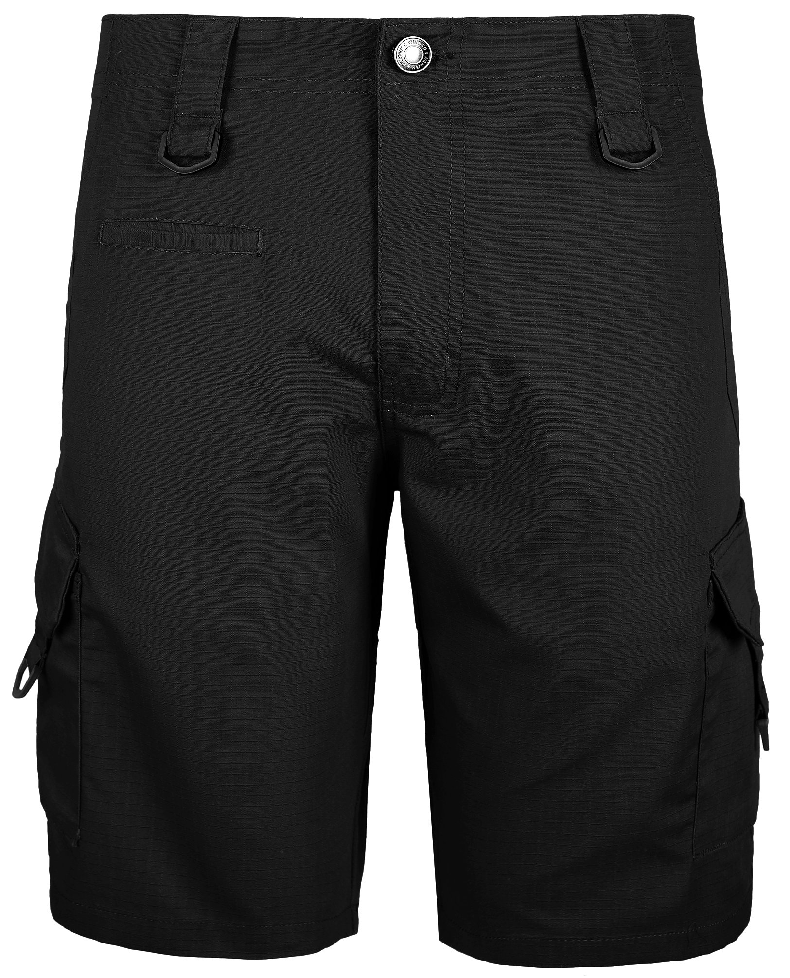 WenVen Men's Rip-Stop Cargo Short Relaxed Fit, Black, 32
