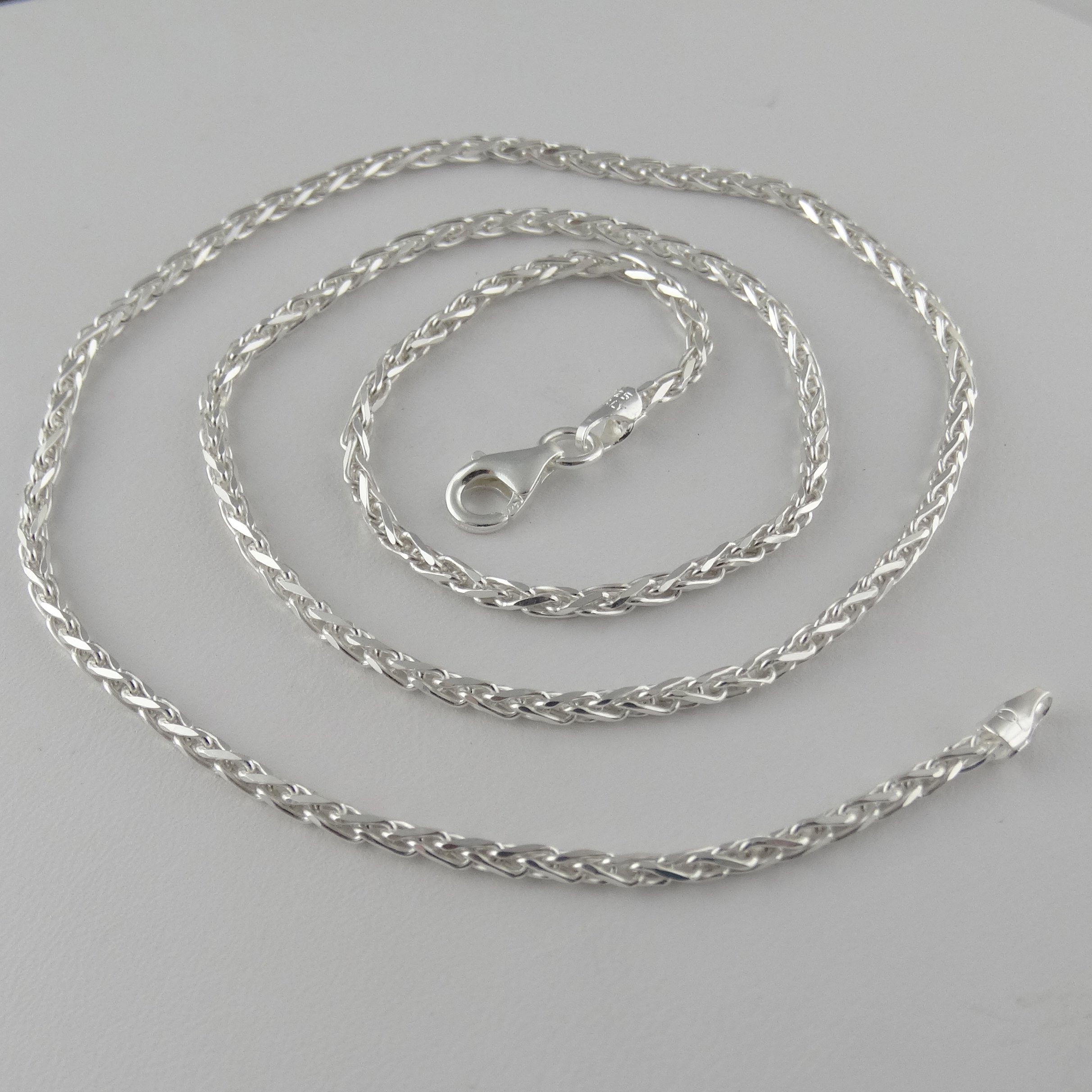 Italian 925 Sterling Silver 3mm Spiga Wheat Diamond Cut Chain Necklace - 16, 18, 24, 30 Inches (18) by FashionJunkie4Life (Image #3)