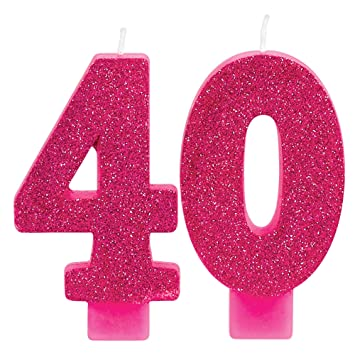 Amazon Amscan 171913 2 Count Glitter Pink 40 Birthday Candles