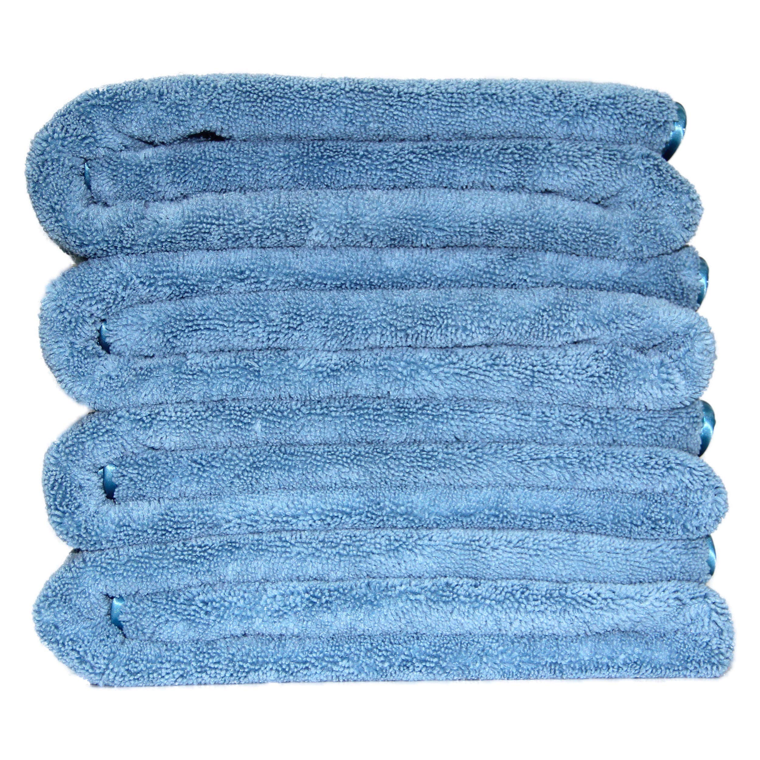 Polyte Premium Quick Dry Lint Free Microfiber Bath Towel, 57 x 30 in, Set of 4 (Blue)