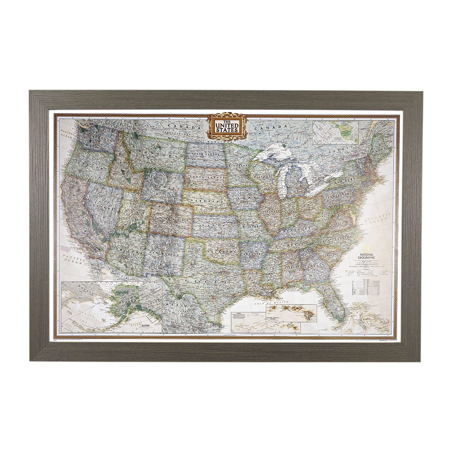 Us Map Picture Frame.Amazon Com Push Pin Travel Maps Executive Us With Barnwood Gray