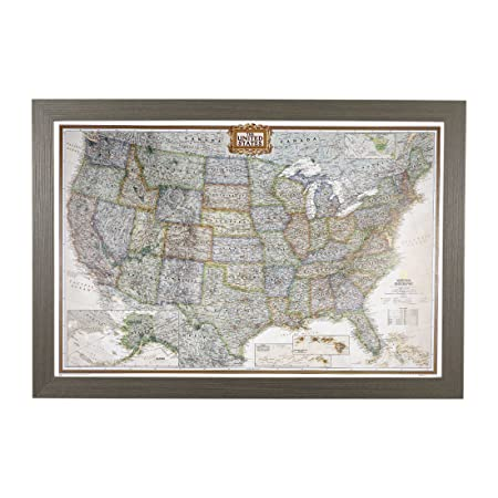 Push Pin Travel Maps Executive US with Barnwood Gray Frame and Pins – 27.5 inches x 39.5 inches