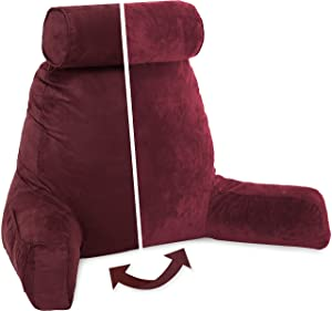 Husband Pillow, Aspen Edition - Reading and Bed Rest Pillow with Arms - Neck Roll on Bungee Cord or Removable - Premium Memory Foam -Reversible Two-Sided Cover Microsuede or Microfiber, Arizona Maroon