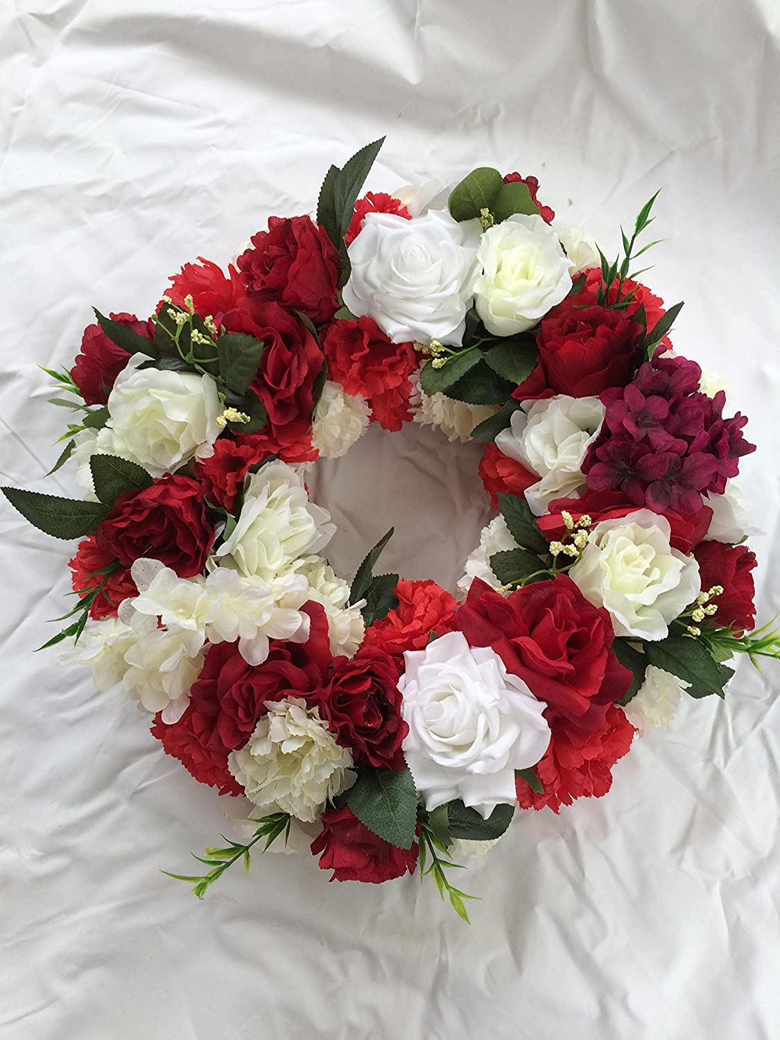 Red and white mix faux silk floral funeral wreath amazon red and white mix faux silk floral funeral wreath amazon kitchen home izmirmasajfo Images