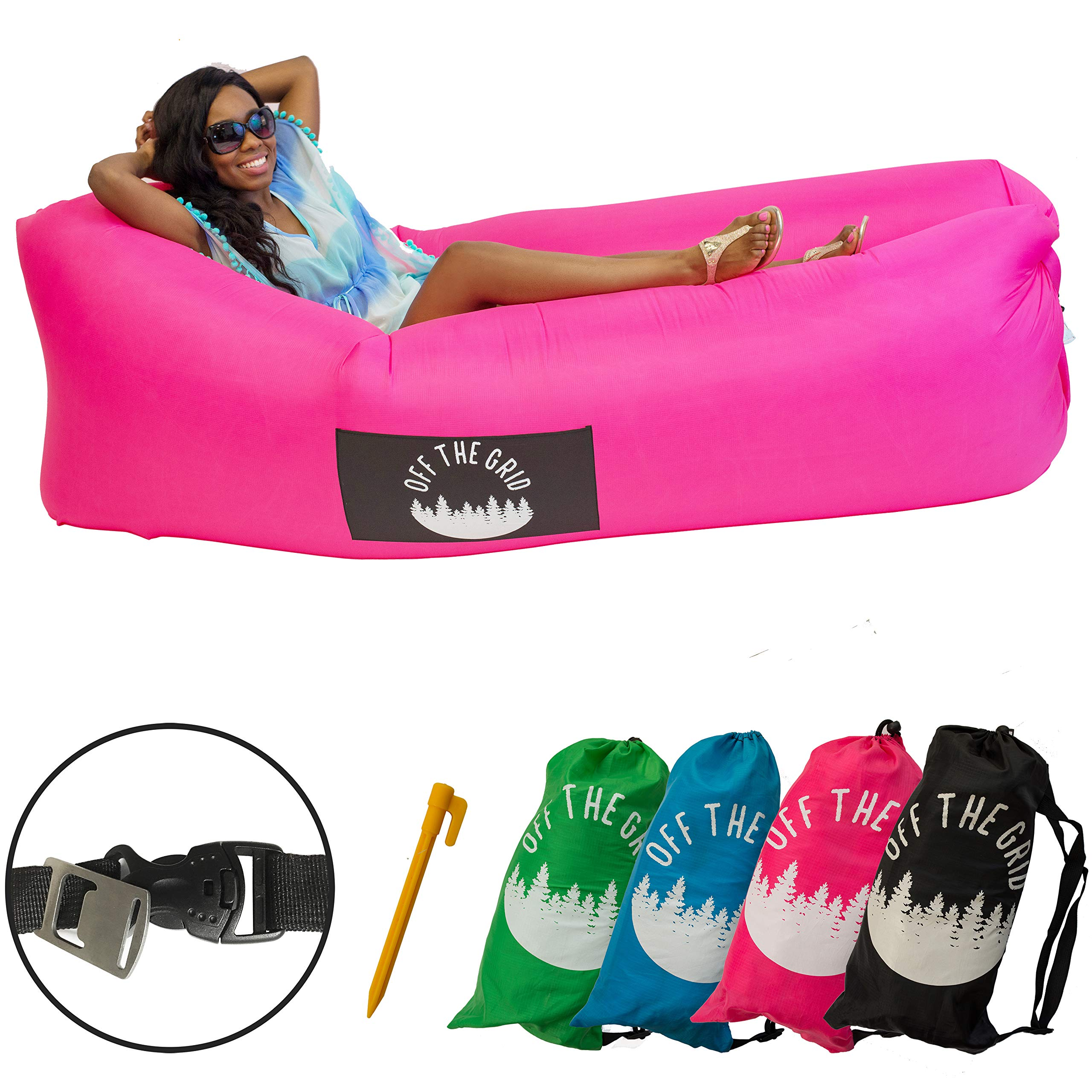 Off the Grid Inflatable Lounger - Air Sofa Wind Chair Hammock - Floating/Portable Bed for Beach, Pool, Camping, Outdoors Lazy Bag Cloud Couch (Pink) by Off the Grid