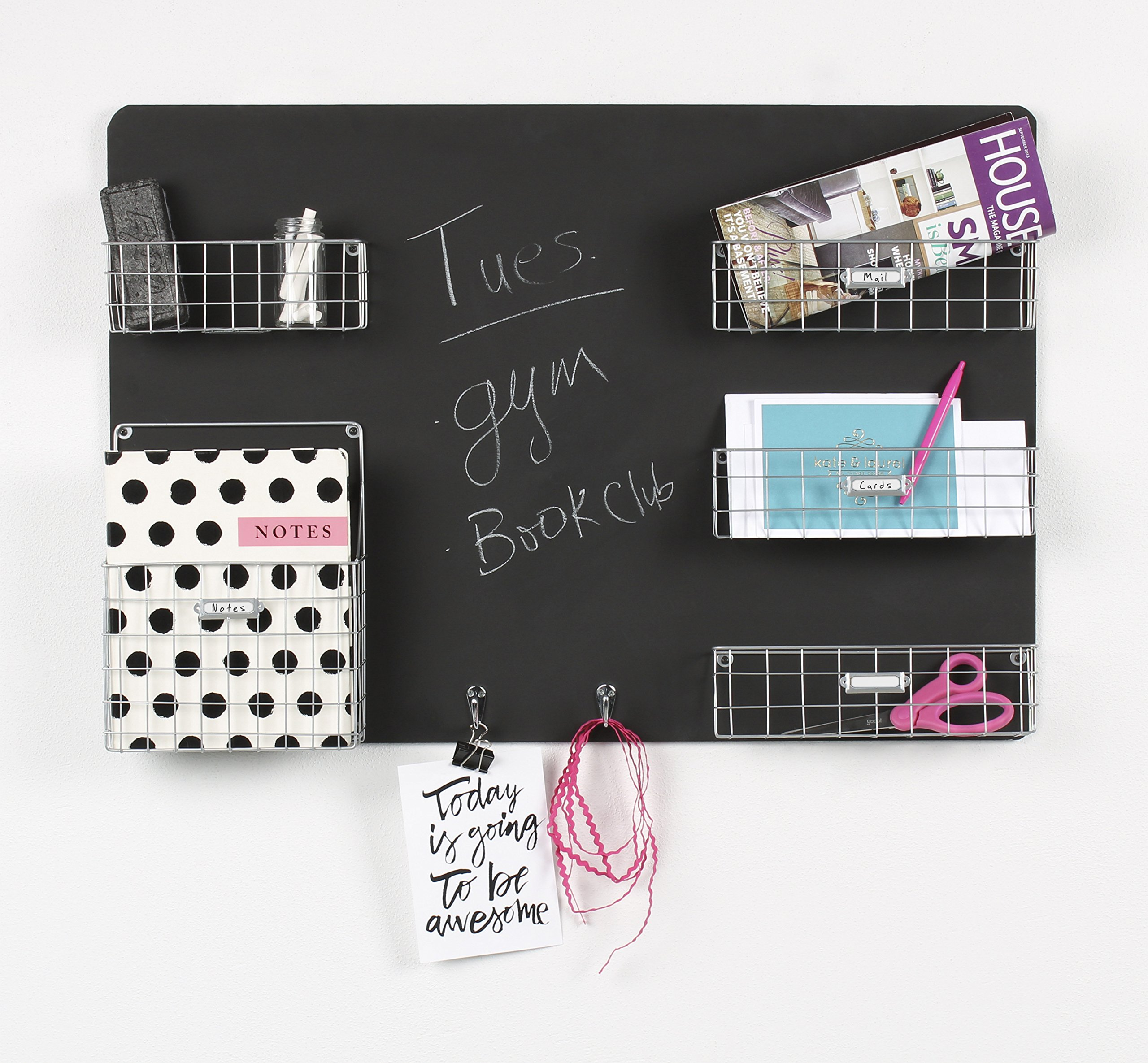 DesignOvation Dinah Decorative Wall Chalkboard with Five Metal Baskets & Two Key Hooks, Silver (209302)