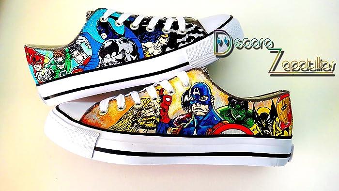 5468b2eccabb Amazon.com  Superhero Marvel Dc custom canvas shoes handpainted ...