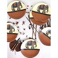 Keramika Etnik Fil Servis Tabağı, 25 Cm, 6 Adet