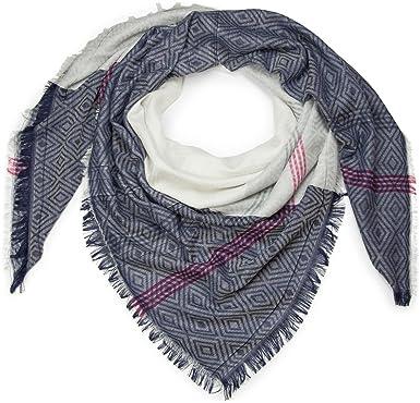 styleBREAKER foulard XXL avec imprimés losanges et rayures, style ethnique  et franges, écharpe, 259116dc98c