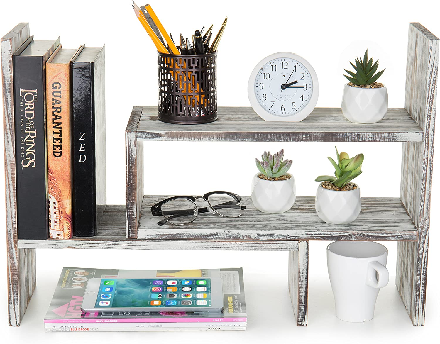 Rustic Torched Wood Adjustable Desktop Bookcase Office Organizer Shelf Rack