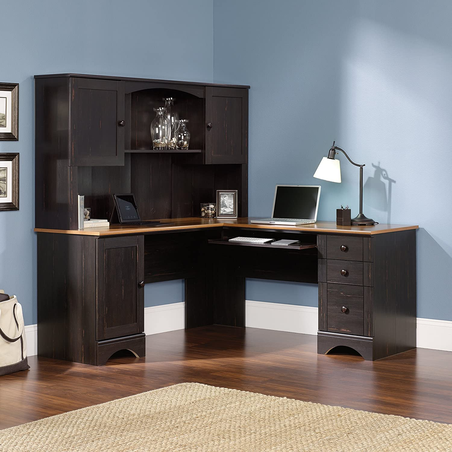 Amazon.com: Sauder Office Furniture Harbor View L-Desk with Hutch and  Reversible Storage, Cherry/Antique Black: Kitchen & Dining - Amazon.com: Sauder Office Furniture Harbor View L-Desk With Hutch