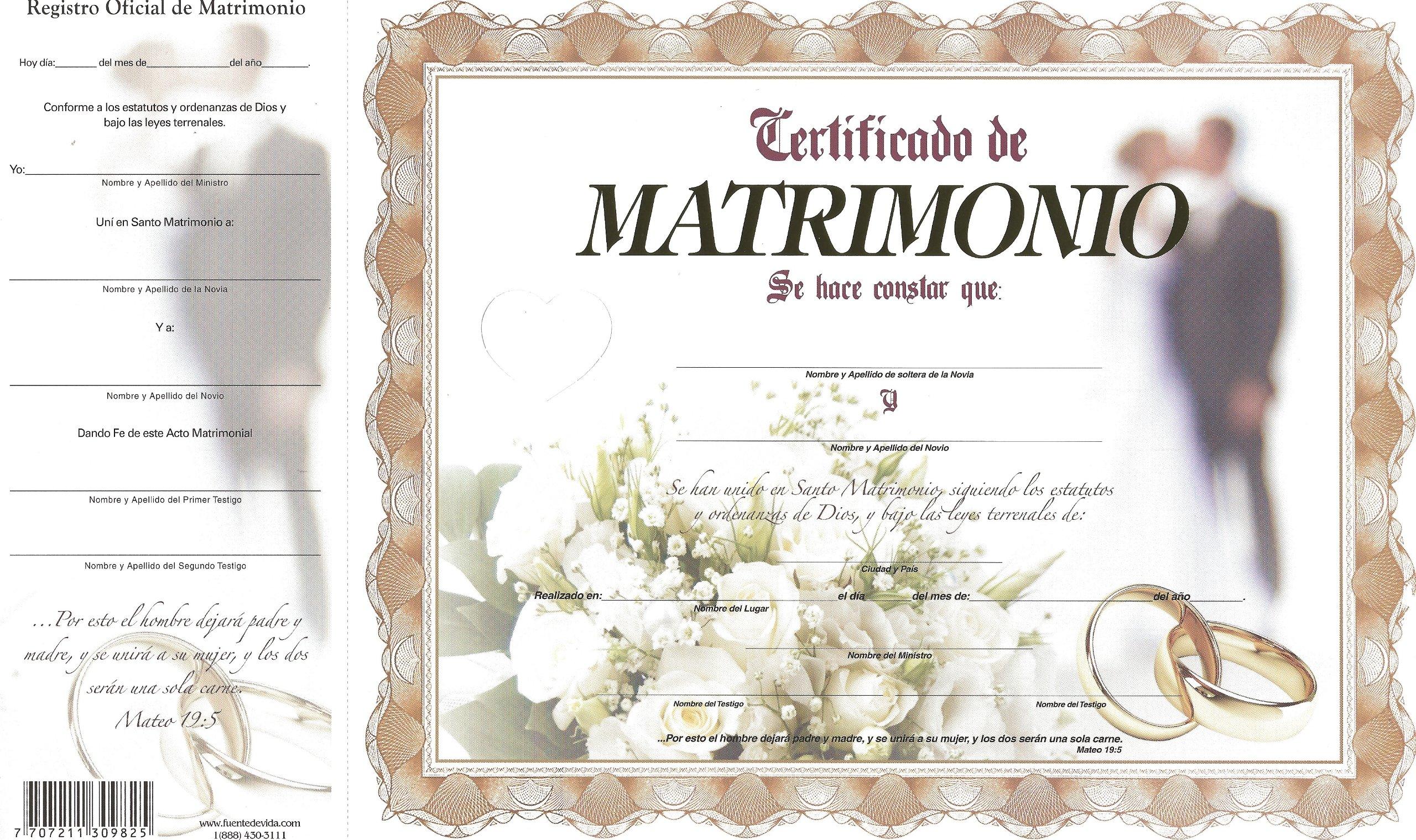 Certificado de Matrimonio Oro: Fuente de Vida Distributors Inc ...
