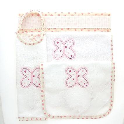 Coccole- Juego para guardería, tela con mariposas rosas, 4 piezas: 2 baberos, 1 toalla y 1 bolsa, rosa, de 3 meses a 5 años, para bordar, con tela Aída: ...