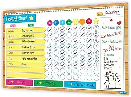 With pen Reusable -UNICORN /& RAINBOW Reward Chart Wipe clean