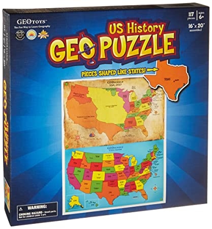 Geo Map Of Usa.Amazon Com The Usa History Geopuzzle By Geotoys Toys Games