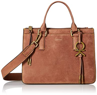 6fedba1e3ef Amazon.com: Calvin Klein Brynn Nubuck Pebble Leather Top Zip Satchel,  walnut: Clothing