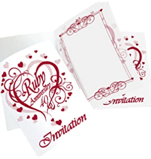 ruby wedding invitations 40th anniversary se 6 cards with