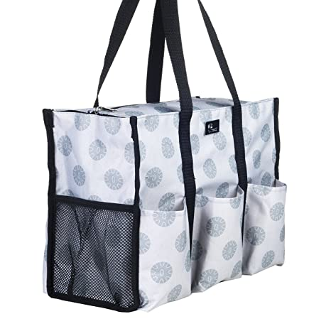 7a9ae7b25890 Pursetti Zip-Top Organizing Utility Tote Bag with Multiple Exterior   Interior  Pockets for Working