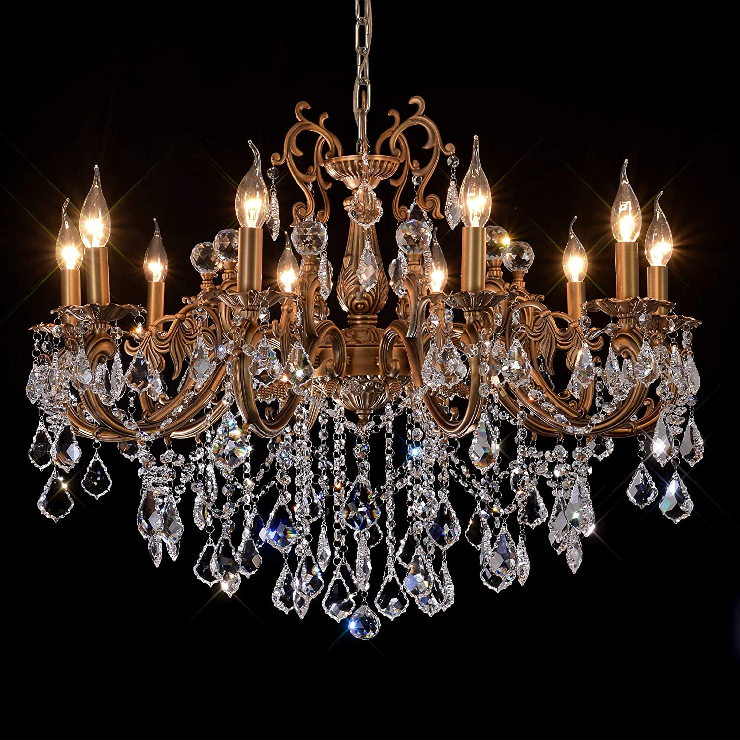 MEEROSEE Crystal Chandeliers Contemporary Chandelier Island Lighting 10 Lights Candle Pendant Ceiling Light Fixture for Dining Room Living Room Kitchen Bedroom Hallway Entry D35.4
