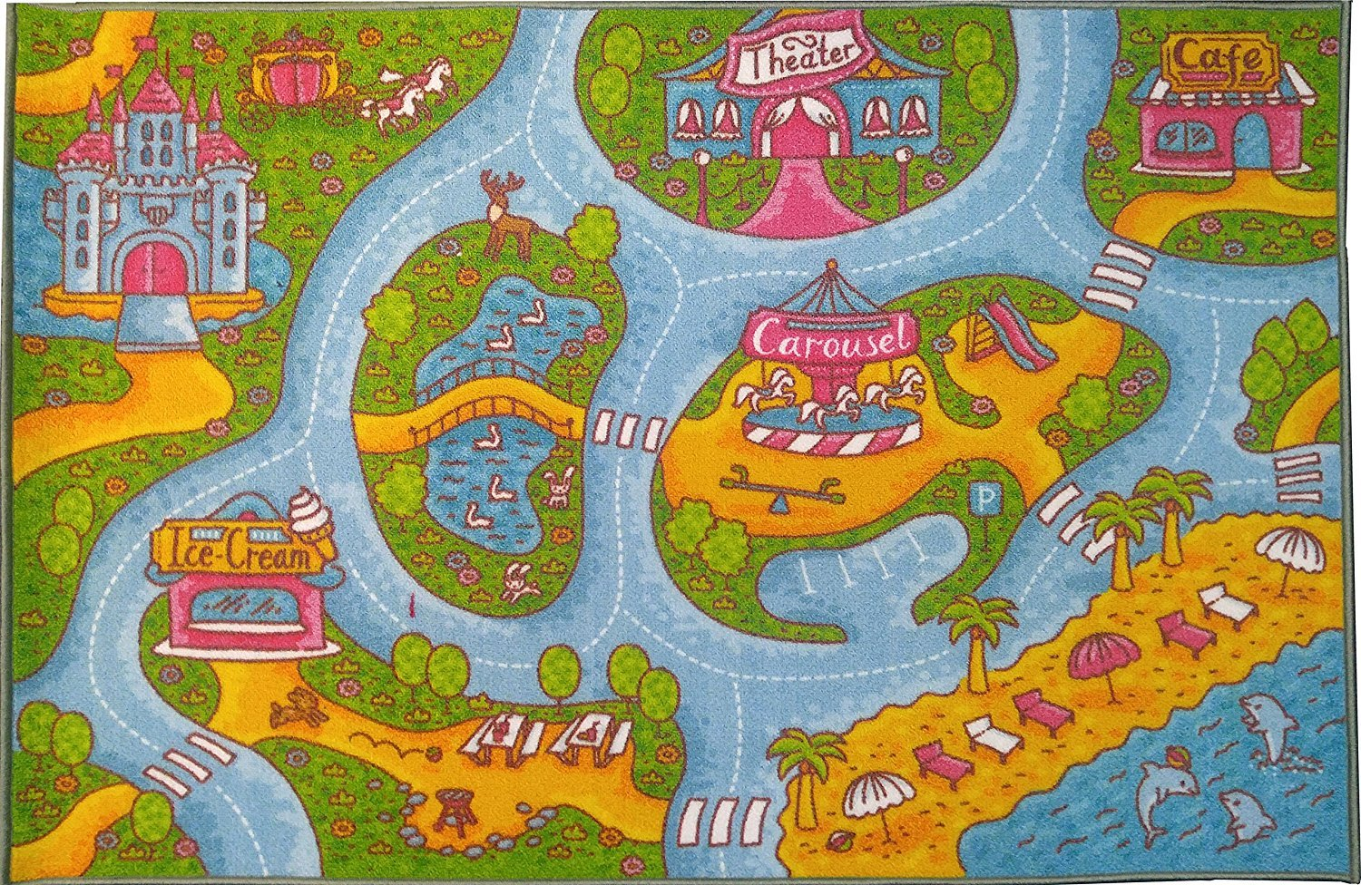 KC CUBS Playtime Collection Girls Road Map Educational Learning & Game Area Rug Carpet for Kids and Children Bedrooms and Playroom (3' 3'' x 4' 7'')