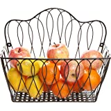 Decorative Black Metal Wire Loop Design Wall Mounted Magazine Holder Bin / Fruit Basket Rack - MyGift®