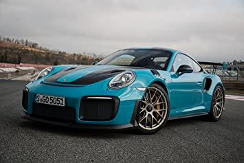 Porsche 911 GT2 RS (2017) Car Print on 10 Mil Archival Satin Paper Blue