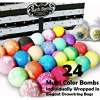 Aromatherapy Bath Bomb Gift Set. 24 Individually Wrapped Bath Bombs in Gorgeous...