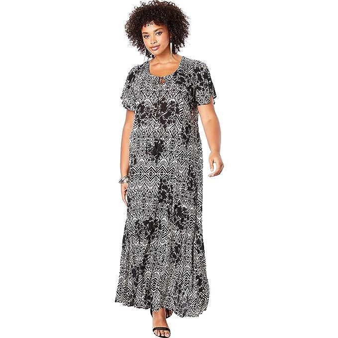 Roamans Women\'s Plus Size Crinkle Flare-Sleeve Maxi Dress