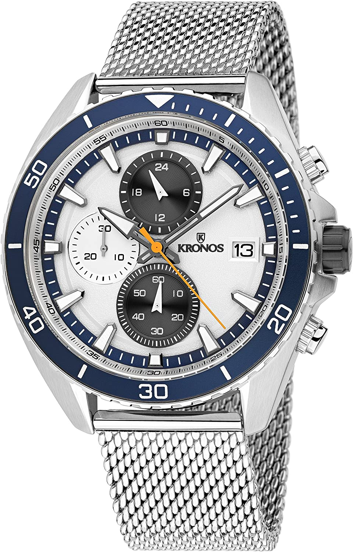 KRONOS - Sport Q Racing Chrono Silver K005.8.105 - Reloj de Caballero de Cuarzo, Brazalete de Acero, Color Esfera: Plateada