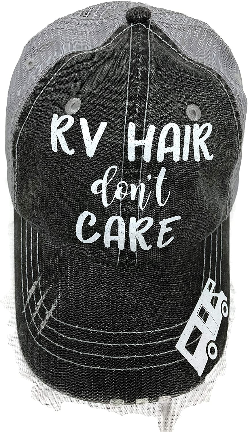 White Glitter RV Hair Don't Care Grey Trucker Cap Hat Camping