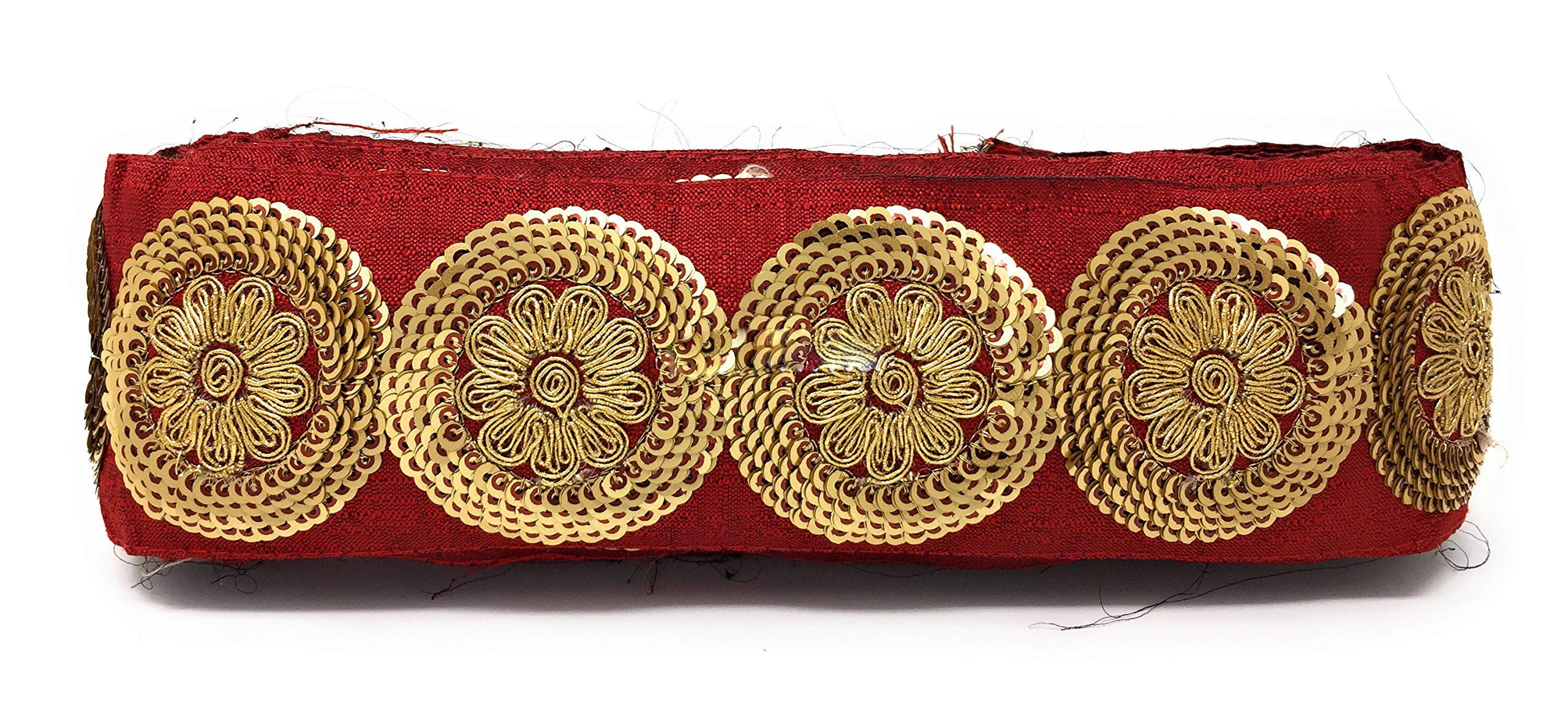 Inhika 9 Yard lace Border Trim for Women Saree Dupatta Maroon Colour Gold, Pearl Gold, Maroon Embroidery, Sequins, Cotton Mix Material Medium Width at 7 cm Wide by Inhika