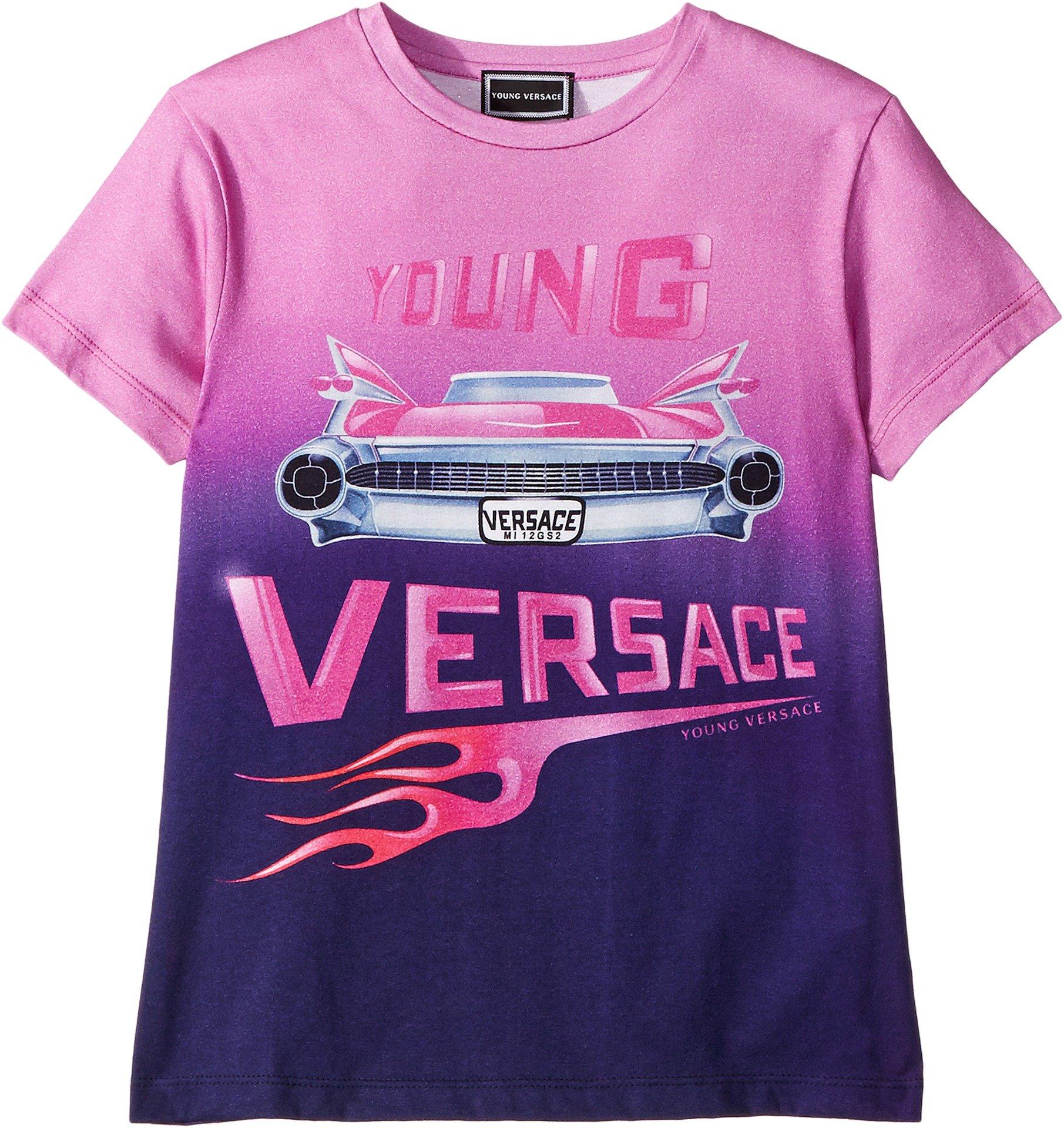 Versace Kids Girl's Short Sleeve Logo Car Graphic T-Shirt (Big Kids) Pink/Multi 9-10