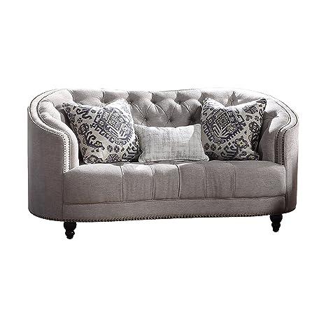 Amazon.com: Acme muebles 52061 Saira Loveseat, gris claro ...