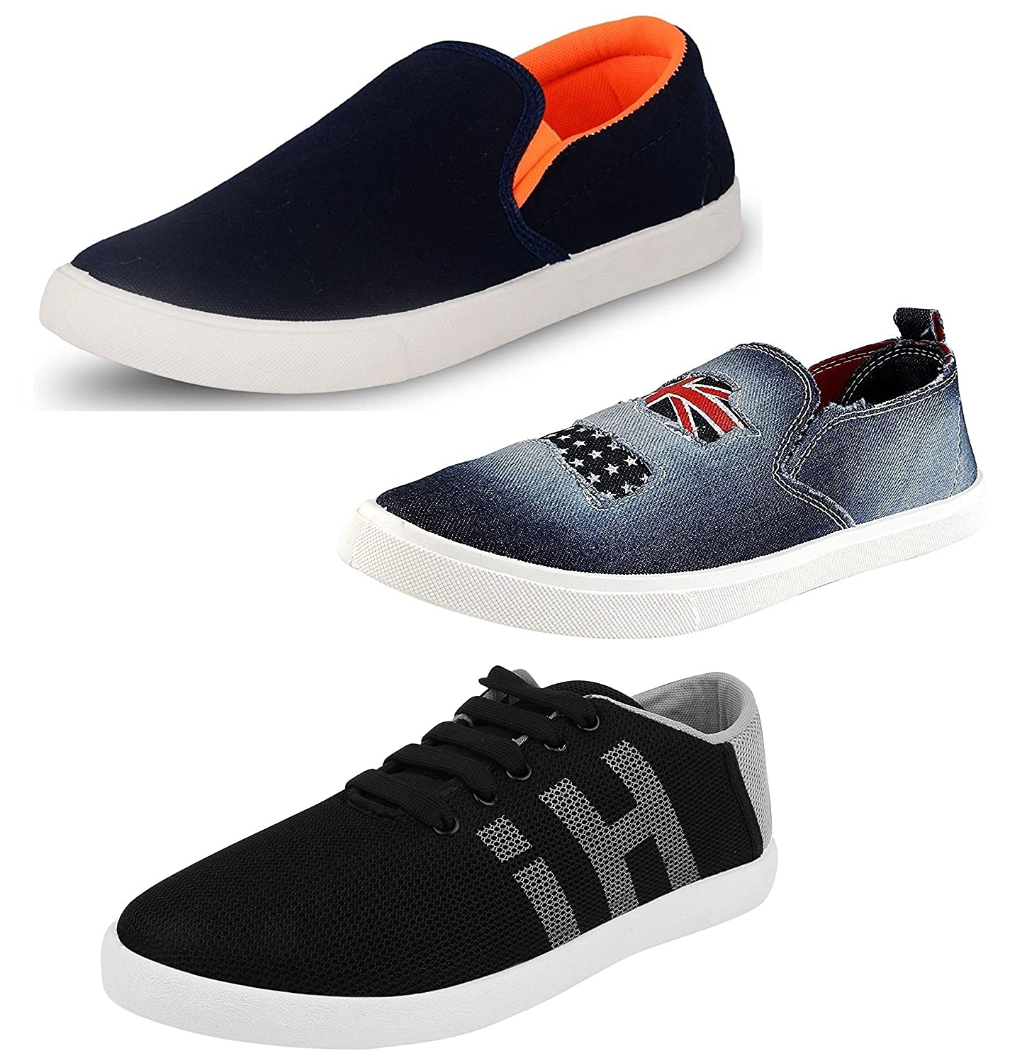 Chevit Men's Pack of 3 Casual Sneakers Shoes