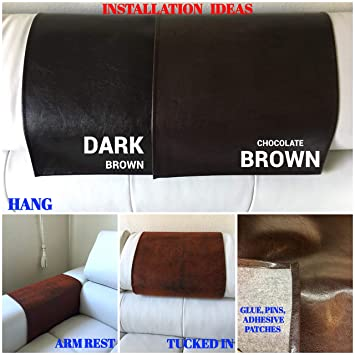 luvfabrics LUVFARICS 14 by 30 INCH Brown Ford Pebble Faux Leather Vinyl Sofa Loveseat Chaise Theater Seat, RV Cover, Chair Caps Headrest Pad, Recliner Head Cover, Furniture Protector